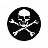 SKULL AND CROSS BONES IN CIRCLE  (2.75 round)
