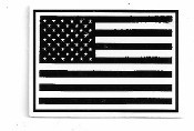 SMALL BLACK & WHITE DISTRESSED AMERICAN FLAG (1.75 x 1.25)