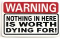 WARNING NOTHING IN HERE IS WORTH DYING FOR